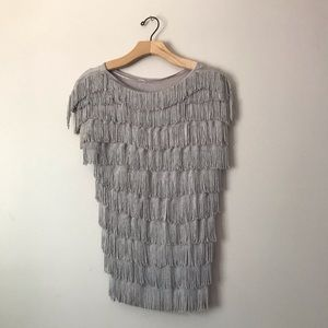 INC fringes taupe Top
